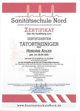 Zertifikat-Tatortreiniger